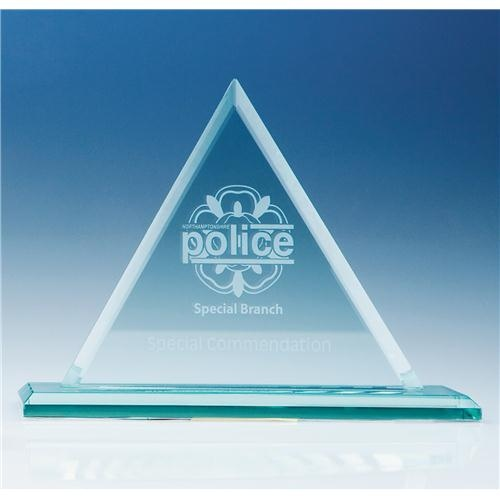 19cm Jade Glass Pyramid Award