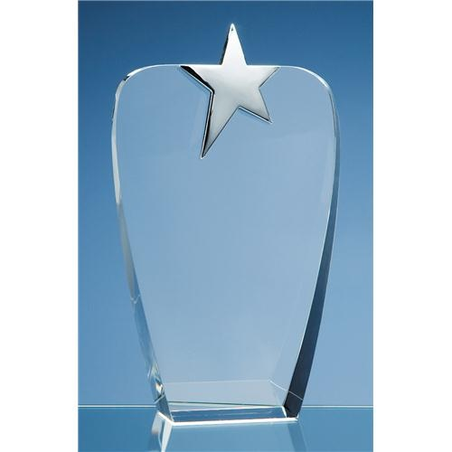 22.5cm Optic Oval Award With Silver Star