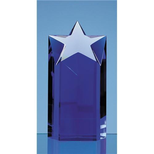 18cm Sapphire Blue Optic Star Column Award