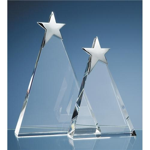 25cm Optic Triangle Award With Silver Star