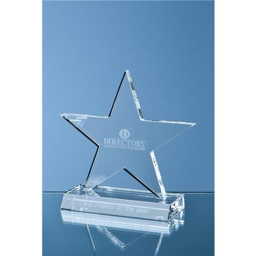 21cm Optical Crystal 5 Pointed Star On Base Award