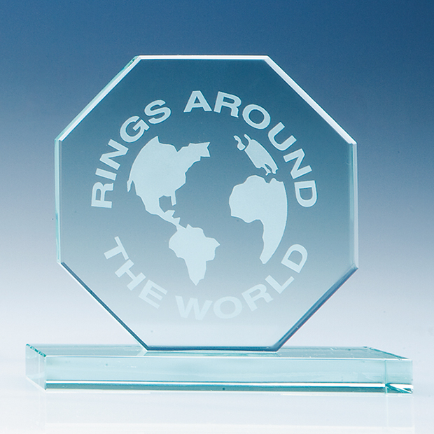 100 mm Octagon, 12 mm Jade Glass Award