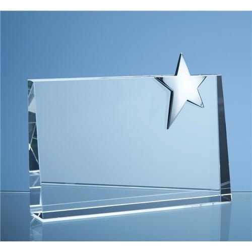 20cm Optic Horizontal Rectangle With Silver Star