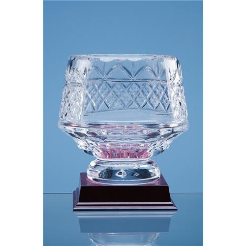 14cm Lead Crystal Panelled Heeled Bowl