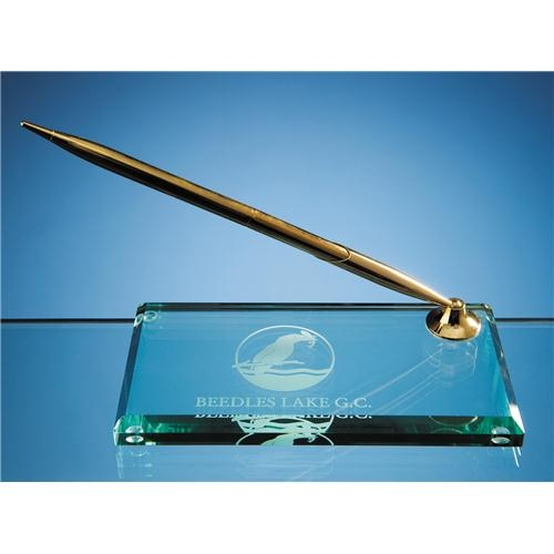 15cm Jade Glass Rectangular Pen Holder