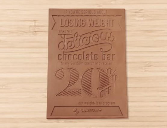 Promotional Chocolate Flyers Used to Market Weight Loss Brand #CleverPromoGifts