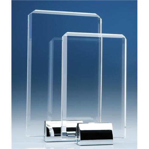25cm Optical Crystal Rectangle Mounted On A Chrome Stand