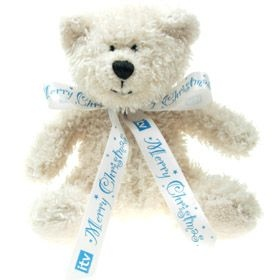15 cm Snowy Beanie Bear with Bow