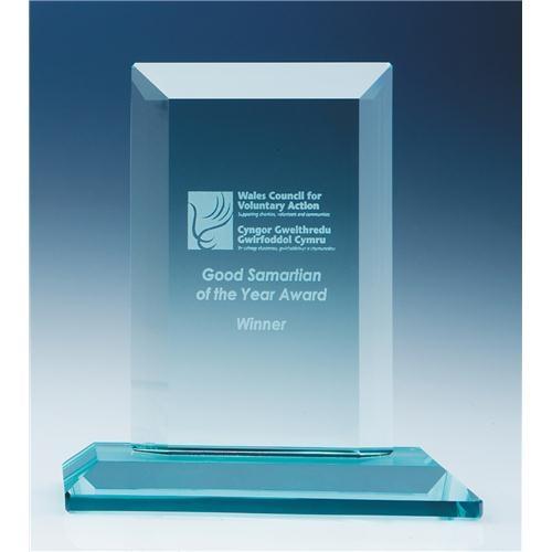 15cm x 19mm Jade Glass Mitred Rectangle Award
