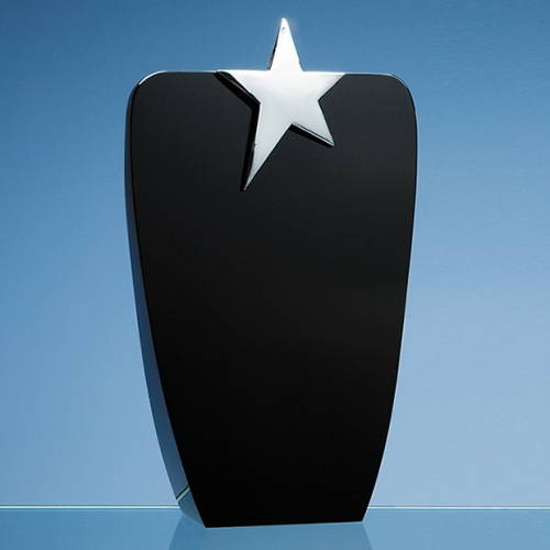22.5cm Onyx Black Oval Award With Silver Star