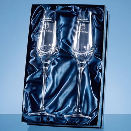 2  Diamante Crystal Champagne Flutes Featuring 3 Swarovski Crystals Bonded To The Side Of The Flute And Packed In A Gloss Presentation Box