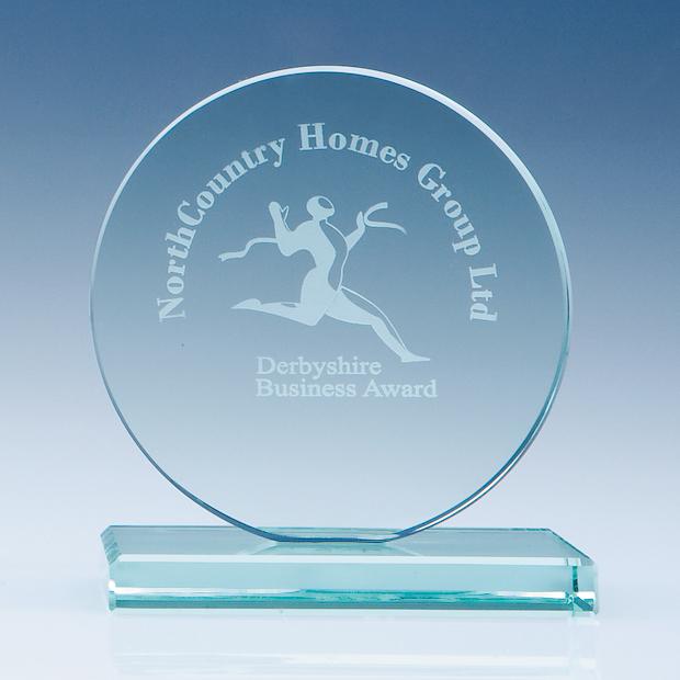10cm Jade Glass Circle Award
