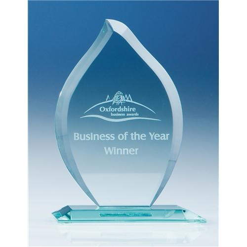 16cm Jade Glass Flame Award
