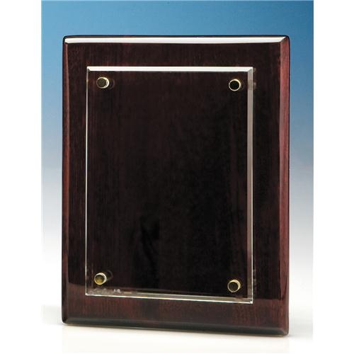 18cm x 12.5 Clear Rectangle Mounted On A Rosewood Plaque