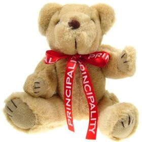 25 cm Honey Jointed Bear with Bow