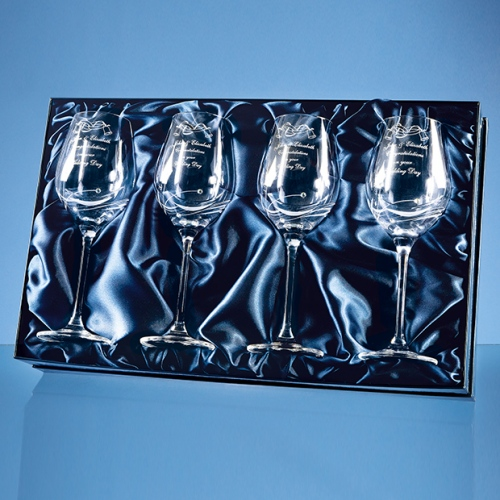 4 Diamante Crystal Wine Glasses Featuring 3 Swarovski Crystals Bonded To The Side Of The Flute And Packed In A Gloss Presentation Box