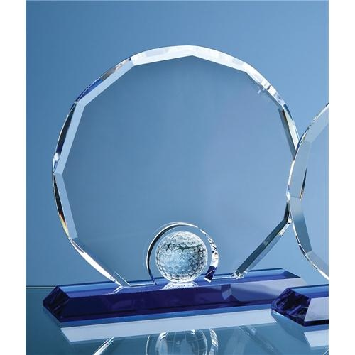 20cm Optic Decagon With Golf Ball On Blue Base