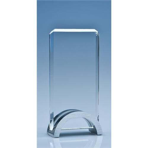 17.5cm Optical Crystal Rectangle Mounted On An Aluminium Stand
