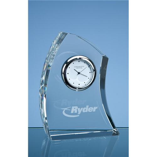 11cm Dartington Crystal Crescent Clock
