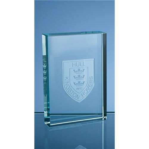9cm Jade Glass Rectangular Paperweight