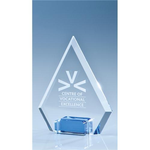 14.5cm Optical Crystal Diamond With Sapphire Blue Base