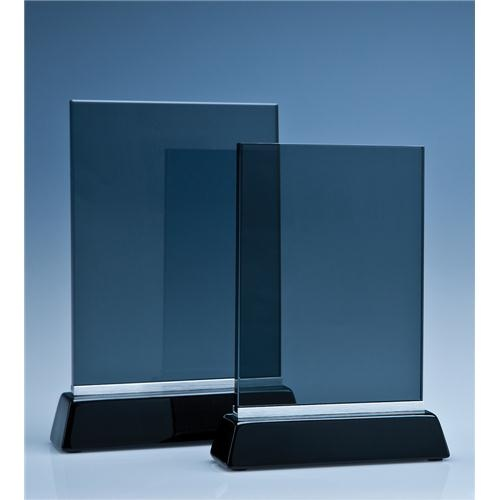 19cm Smoked Glass Rectangle On A Black Piano Finish Base