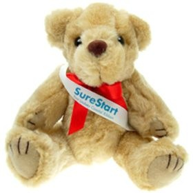 25 cm Honey Jointed Bear with Sash