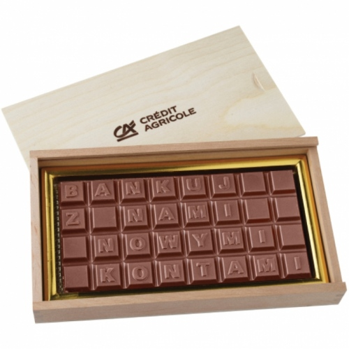 Premium Four Line Chocolate Text Bar in a Box