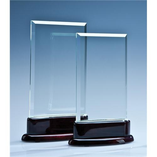 18.5cm Crystal Rectangle On A Rosewood Piano Finish Base