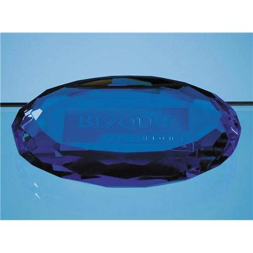 10cm Sapphire Blue Square Optic Oval Facet Paperweight