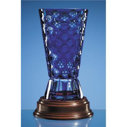 25cm Mario Cioni Lead Crystal Blue Kono Vase