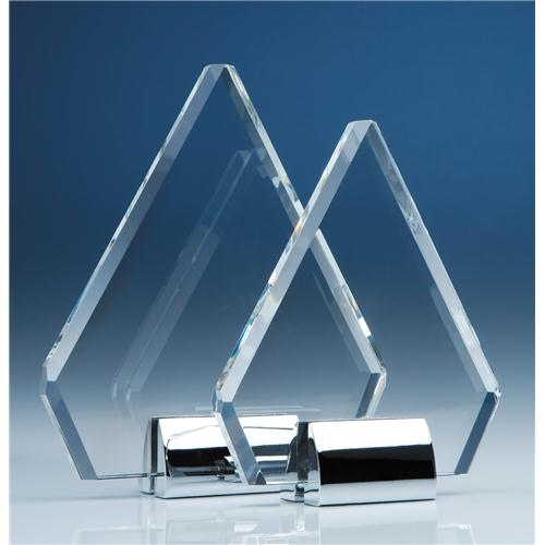 18cm Optical Crystal Diamond Mounted On A Chrome Stand
