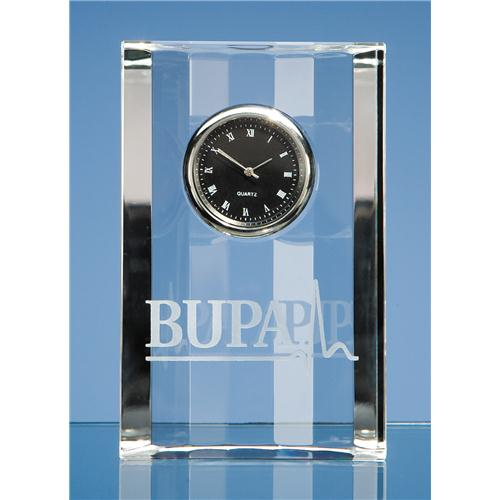11cm Optical Crystal Scalloped Clock