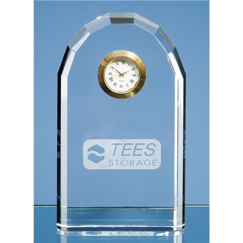 13cm Optical Crystal Bevelled Arch Clock