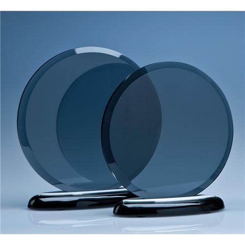 17cm Smoked Glass Circle On A Black Piano Finish Base