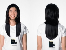Promotional T-Shirts and a Visual Illusion Used to Market Hair Product #CleverPromoGifts