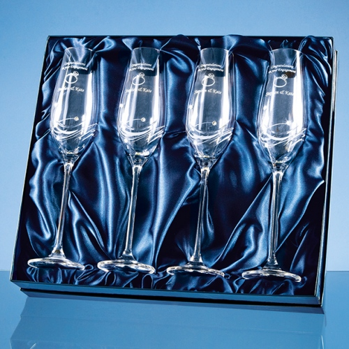 4 Diamante Crystal Champagne Flutes Featuring 3 Swarovski Crystals Bonded To The Side Of The Flute And Packed In A Gloss Presentation Box