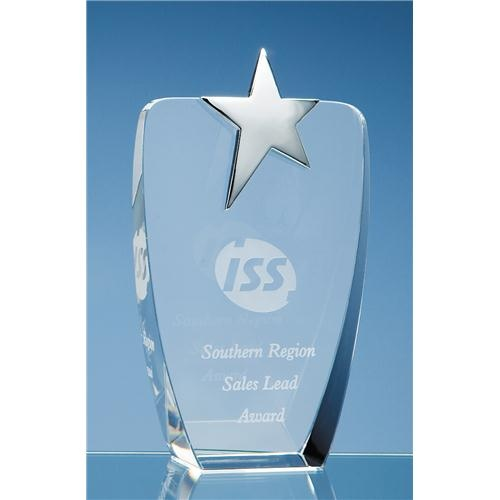19.5cm Optic Oval Award With Silver Star