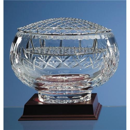 "8"" Lead Crystal Panel Rose Bowl"