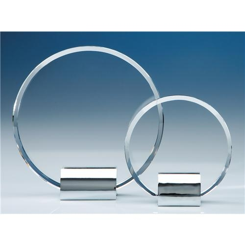 14cm Optical Crystal Circle Mounted On A Chrome Stand