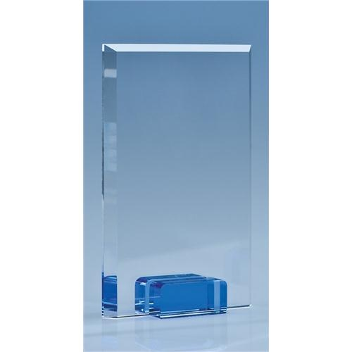 16.5cm Optical Crystal Rectangle With Sapphire Blue Base