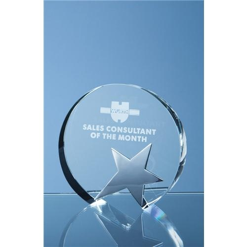 12cm Optic Circle Award With Silver Star