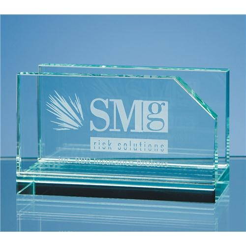10cm Jade Glass Business Card Holder