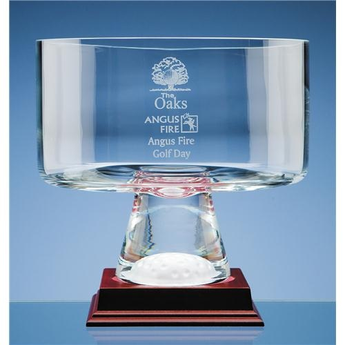 20cm Crystal Golf Ball Footed Bowl