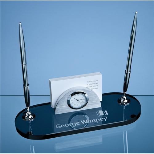 21.5cm Smoked Glass Desk Set
