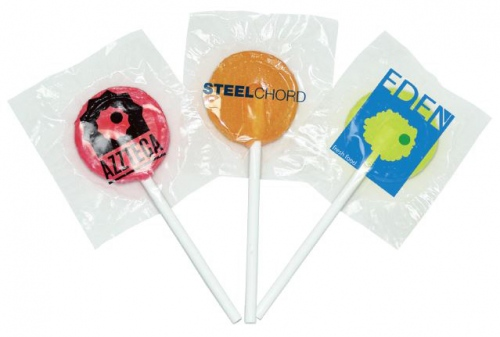Flat Lollies With Printed Labels