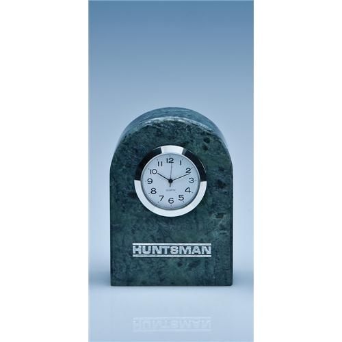 8.5cm Green Marble Bevel Edge Arch Clock