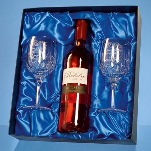 2 Mayfair Lead Crystal Panel Goblets With a 75cl Botthe of Sediba Chenin White Wine In A Satin Lined Presentation Box