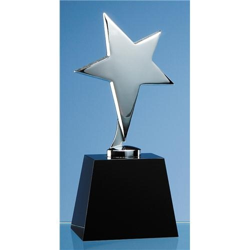 17cm Black Optic Column Award with Silver Star