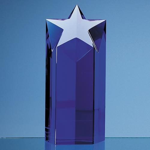 20cm Sapphire Blue Optic Star Column Award